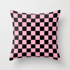 Checkered Pink and Black  Throw Pillow