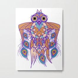 Tribal Peacock Owl Metal Print