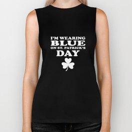 I'm Wearing Blue On St. Patrick's Day Shamrock Biker Tank