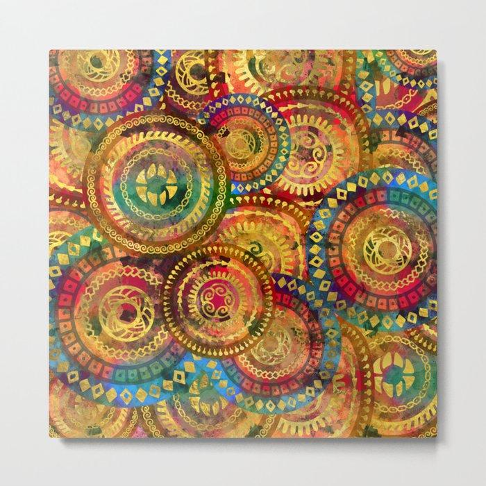 Colorful Circular Tribal  pattern with gold Metal Print