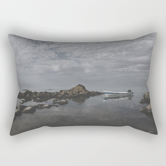 Lonely boat on the sea Rectangular Pillow