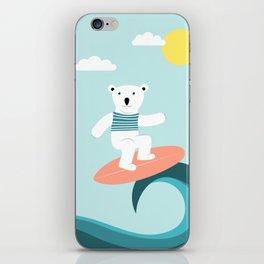Polar bear surfing. iPhone Skin