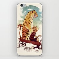 hobbes iPhone & iPod Skins featuring boy and Tiger by Tintanaveia