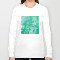 mermaid Long Sleeve T-shirts featuring Ocean Queen by Graphic Tabby
