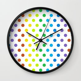 Polka-Dot Rainbow - Modern Abstract Artwork Wall Clock