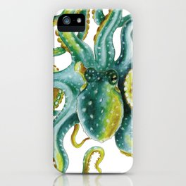 Octopus Tentacles Green Watercolor Art iPhone Case