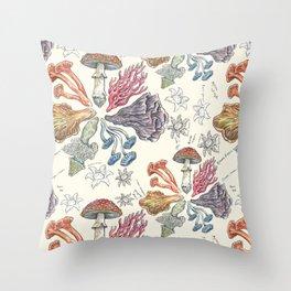 Mushroom Color Wheel Throw Pillow