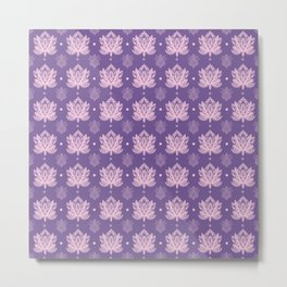 Gentle Pastel Pink  Lotus Flower Pattern Metal Print