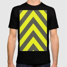 Chevrons warning sign Mens Fitted Tee Black MEDIUM