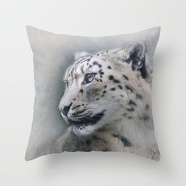 Snow Leopard profile Throw Pillow