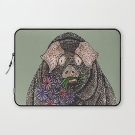 Pig with Flowers Laptop Sleeve