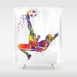 Bicycle Kick Boy Soccer Player Colorful Watercolor Art Striker Gift Football Player Gift Shower Curtain