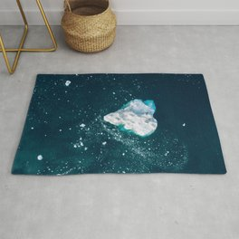 Heart of Winter - Aerial view of Icebergs in the arctic Ocean Rug
