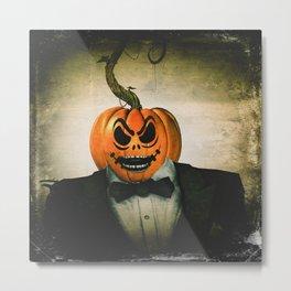Evil Pumpkin Man Metal Print