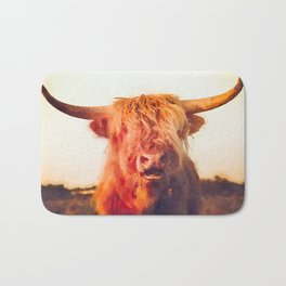 Highland cow watercolor painting #2 Bath Mat