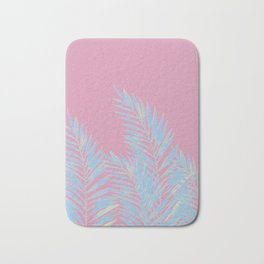 Palm Leaves Blue And Pink Bath Mat