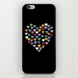 Distressed Hearts Heart Black iPhone Skin