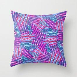Pink and Blue Criss Cross - Sarah Bagshaw Throw Pillow