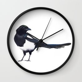 Black-billed Magpie - charcoal drawing Wall Clock