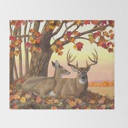 Hilltop Retreat Whitetail Deer Painting Throw Blanket