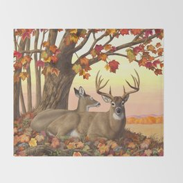 Hilltop Retreat Whitetail Deer Painting Throw Blanket
