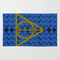 ravenclaw Area & Throw Rugs featuring The Deathly Hallows Ravenclaw by cinefuck