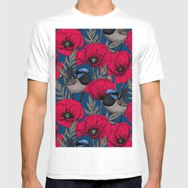 Fairy wren and poppies T-shirt