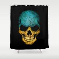 ukraine Shower Curtains featuring Dark Skull with Flag of Ukraine by Jeff Bartels