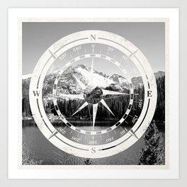 Mountain and Compass Art Print