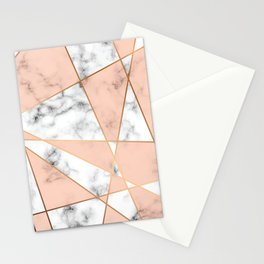 Marble texture design with golden geometric lines Stationery Cards