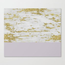 Gold faraldi and smokey lilac marble Canvas Print