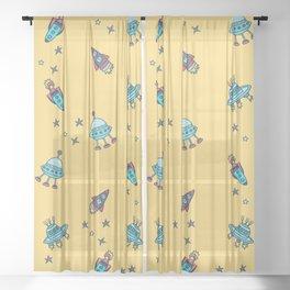 Boys Galaxy Rocket Space Sheer Curtain