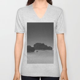 Modern Minimalist Black And White Bleak Landscape Foggy Clouds Unisex V-Neck
