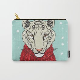 Merry Christmas New Year's card design Tiger head in a red knitted sweater and a scarf. Sketch Carry-All Pouch