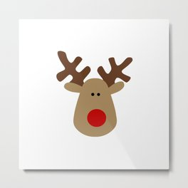 Christmas Reindeer-White Metal Print