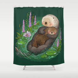 Sea Otter Mother & Baby Shower Curtain