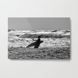 Kitesurfer with his board in the surf Metal Print
