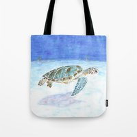 sea turtle Tote Bags featuring Sea turtle by Savousepate