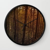 poland Wall Clocks featuring Forest in Poland by vikfdz