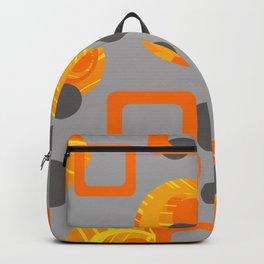 Orange yellow Rings Rectangles grey geometric Backpack