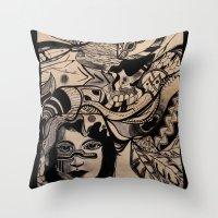 headdress Throw Pillows featuring Headdress by creative kids