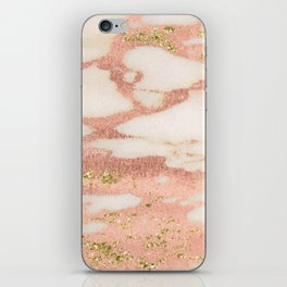 Marble - Rose Gold Shimmer Marble with Yellow Gold Glitter iPhone Skin