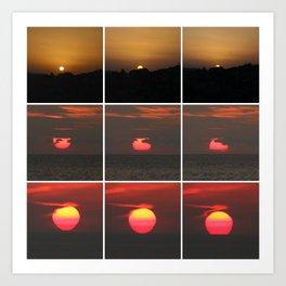 Sunsets around the world - collage Art Print