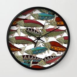 Alaskan salmon white Wall Clock