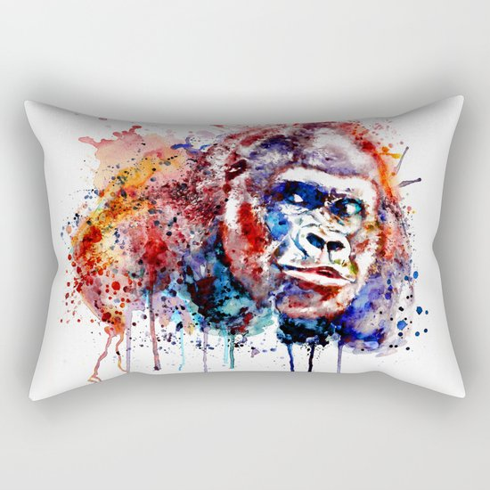 Gorilla Watercolor portrait Rectangular Pillow