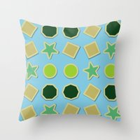 stickers Throw Pillows featuring Shapes stickers by laly_sb