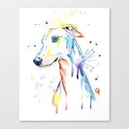 Greyhound Colorful Watercolor Pet Portrait Painting Canvas Print