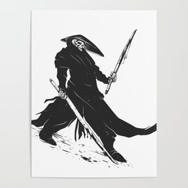 Samurai skull - japanese evil - black and white - fighter illustration - grim reaper cartoon Poster
