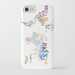 world map watercolor typography 1 iPhone Case