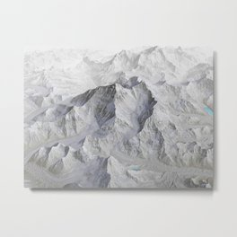 Mount Everest 3D Map No Labels Metal Print